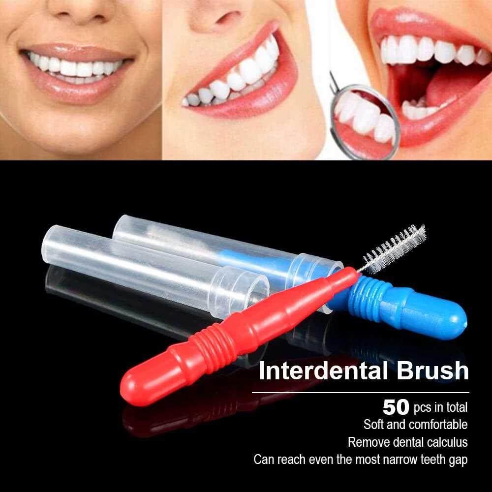 50pcs Interdental Brush Floss Head Tooth Pick Tool Between Teeth Brush Professional Dental Cleaning Brush