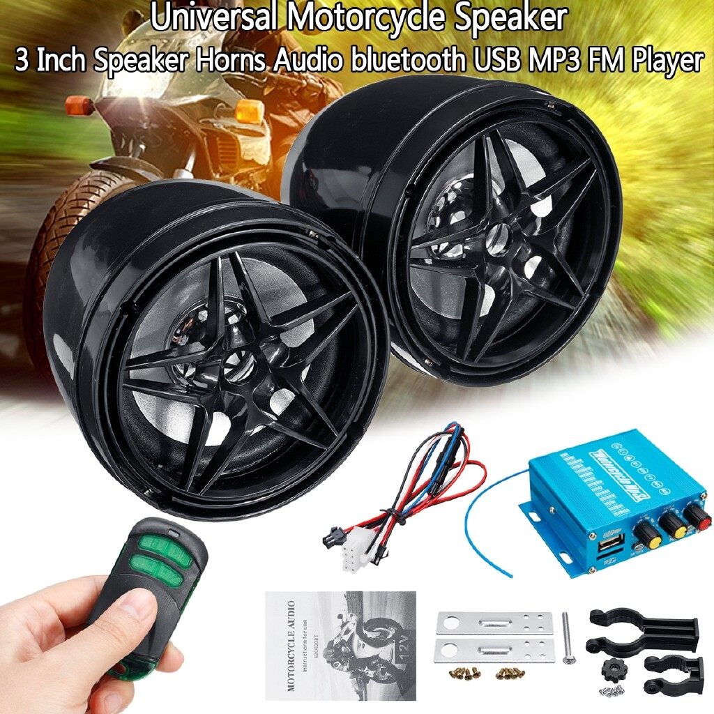 Moto Accessories - 2 PIECE(s) Universal Motorcycle Remote Control Speaker Horns Audio BLUETOOTH USB MP3 FM Stereo Player - Motorcycles, Parts