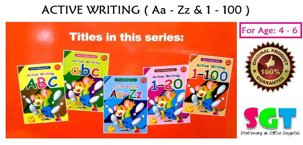 ACTIVE WRITING A-Z & 1-100 ( For Age 4-6 ) SET OF 5 BOOKS