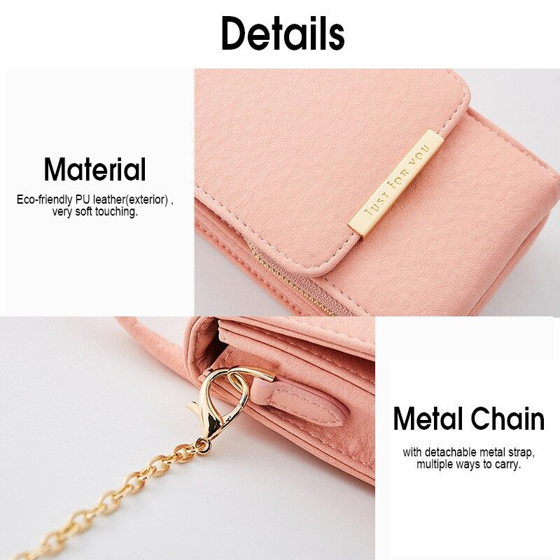 iPh Soft Cover - Capacity PU Leather Tassel Purse Wallet Card Holder Crossbody Bag Handbag - DARKGRAY / WINE RED / BLACK / PINK / BLUE