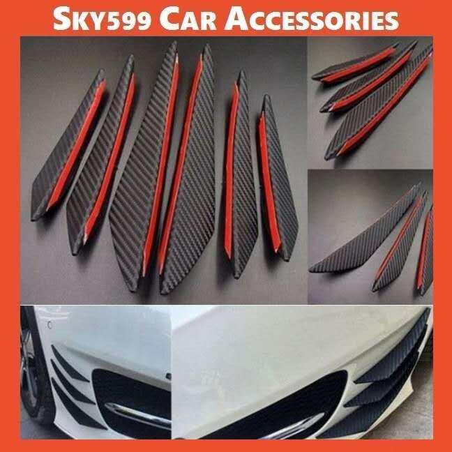 Carbon Fiber Style Car Front Bumper Lip Splitter Body Spoiler Canards AXIA MYVI SAGA PERSONA ALZA EXORA BEZZA [6pcs]