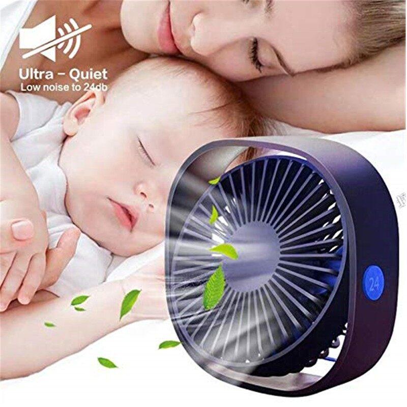 360 MINI Cooling Fan PORTABLE USB Desktop Fan 3 Speed Table Fan Kipas - WHITE / PINK / BLUE