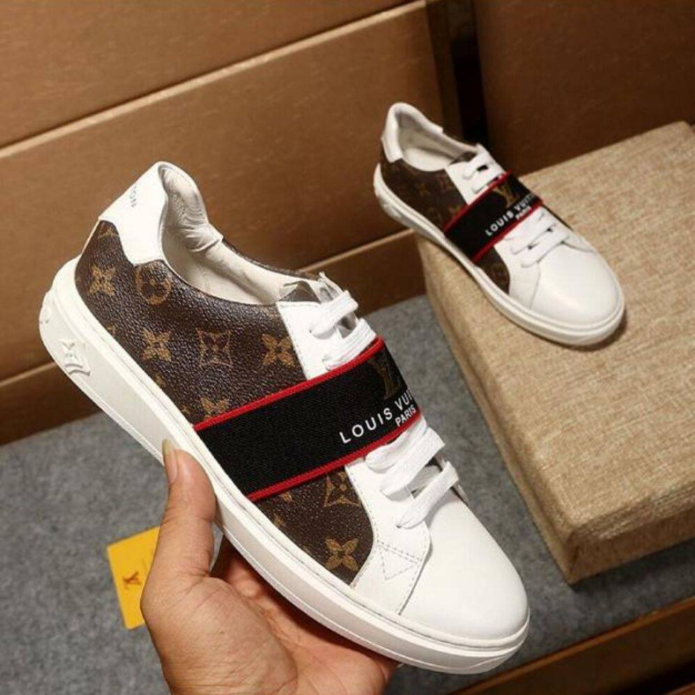 LVK2019 new classic men's shoes printed leather stitching sneakers