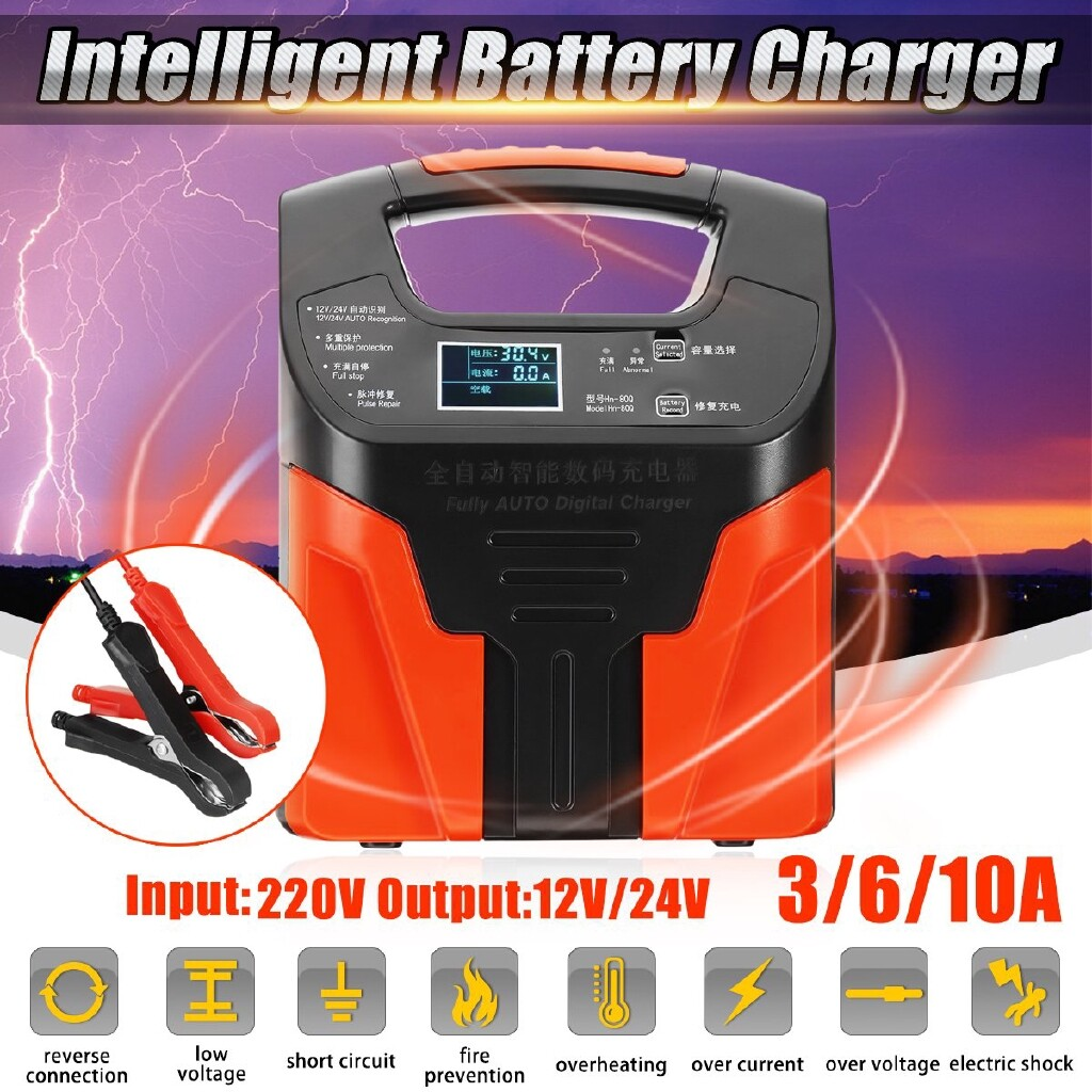 Car Care - 12V/24V 2-200Ah Car Full Automatic Intelligent Pulse Repair Battery Charger 220V - Automotive