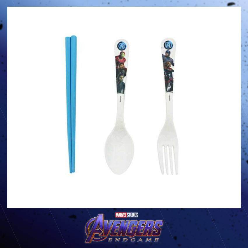 Marvel Avengers Endgame Bamboo Fibre 3 In 1 Cutlery Set With Chopstick - Blue Colour