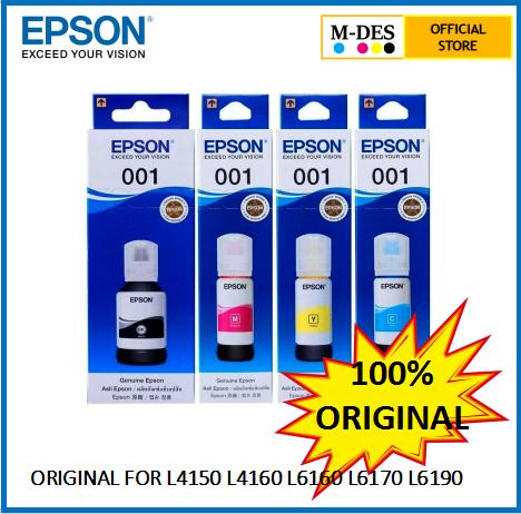 Epson Ink 001 - Y100 Y200 Y300 Y400 Black L4150 L4160 L6160 L6170 Original