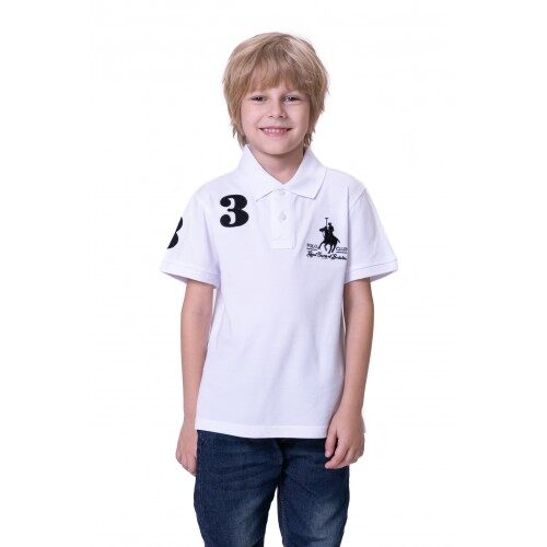 RCB POLO CLUB KIDS POLO TEE SOLID-WHITE NUMBER 3 RBTS10650