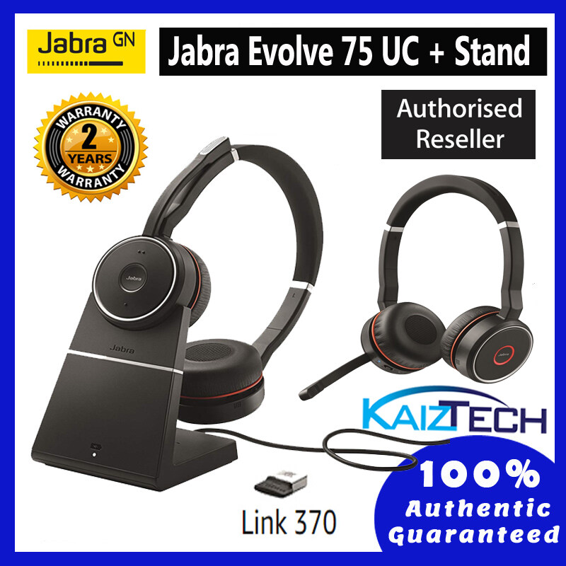 [Ready Stock] Jabra Evolve 75 Stereo Include Charging Stand & Link 370 Office Headset