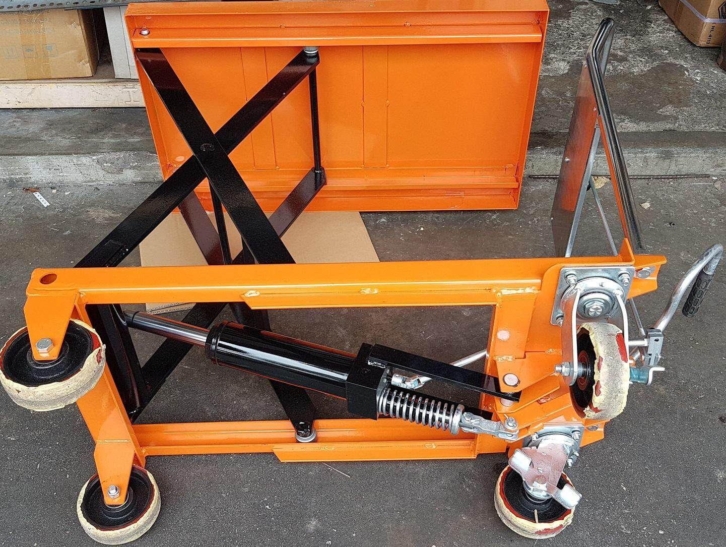 1000 kg jack put safety table lift lifter lifting hydraulic oil up level top portable wheel roller roll tire handle heavy trolley car truck push high height tall pull scissor folding fold driver driver extend rise transport steering carrier carry load