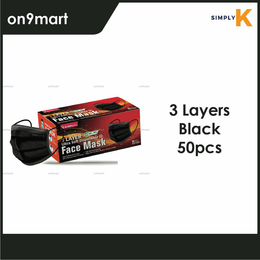 Simply K Ear Loop 3 Layers Non-Wowen Face Mask 50's (Black)