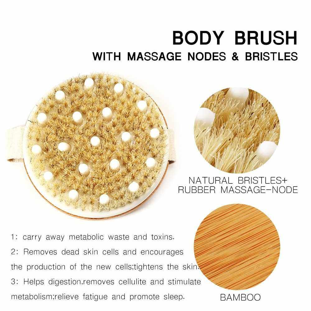 Dry Brushing Body Brush Best for Dry / Wet Skin exfoliating Bath Shower Scrub Cellulite Treatment with Massage Nodes Natural Boar Bristles Improves Lymphatic Functions (Standard)