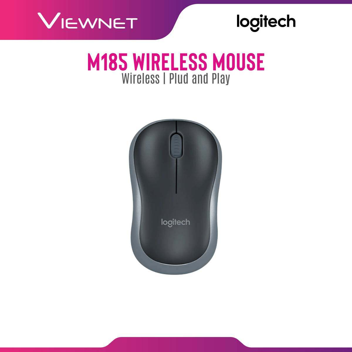 Logitech M185 Compact Plug-and-Play Wireless Mouse with USB Nano Receiver (Grey/Red/Blue) Durable & Designed for Laptops, Mac & Windows Compatible