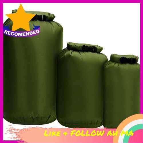 Best Selling 3pcs Waterproof Dry Bag Roll Top Dry Sack For Kayaking Boating Fishing Swimming (Army Green)
