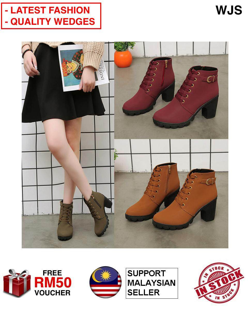(LATEST FASHION) WJS Latest Korean Trend Winter Women Wedge Heel Boots Ladies Shoes Suede Boot BLACK BROWN COFFEE ARMY GREEN MAROON [FREE RM 50 VOUCHER]