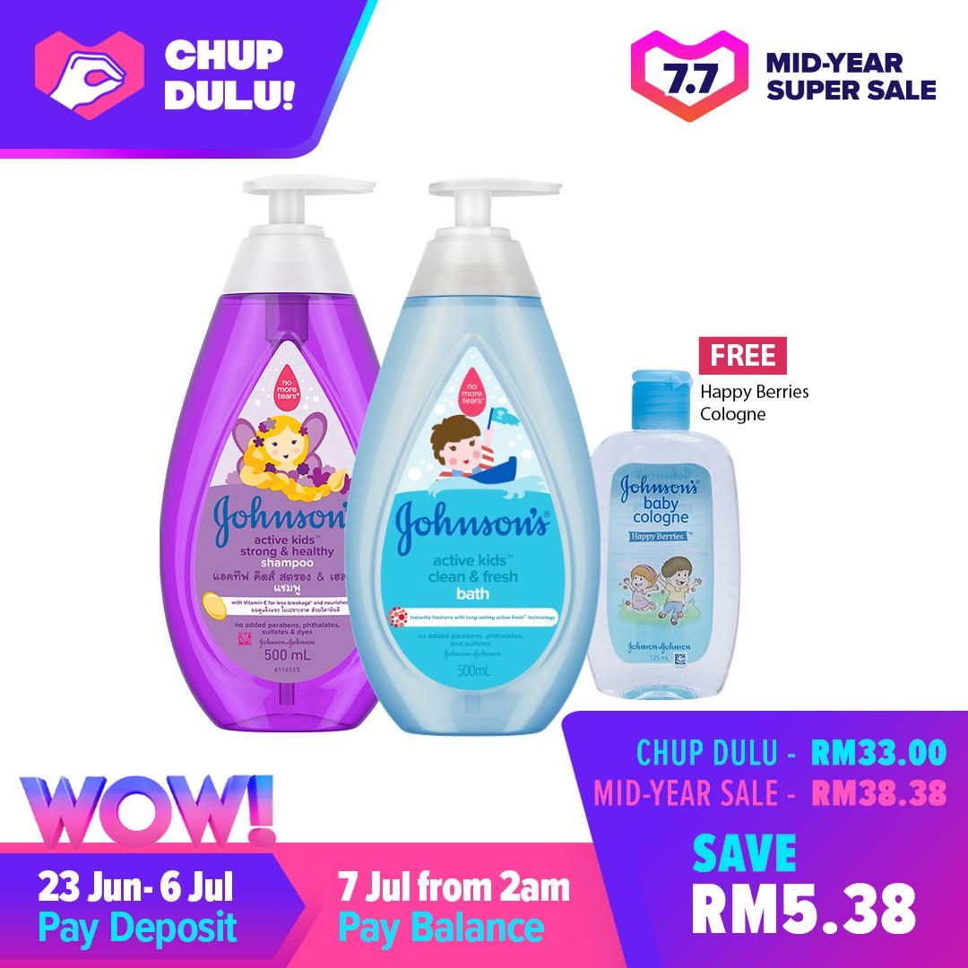 [7.7 Pre-Sale] Johnson's Baby Kids Shampoo & Bath Bundle Free Cologne