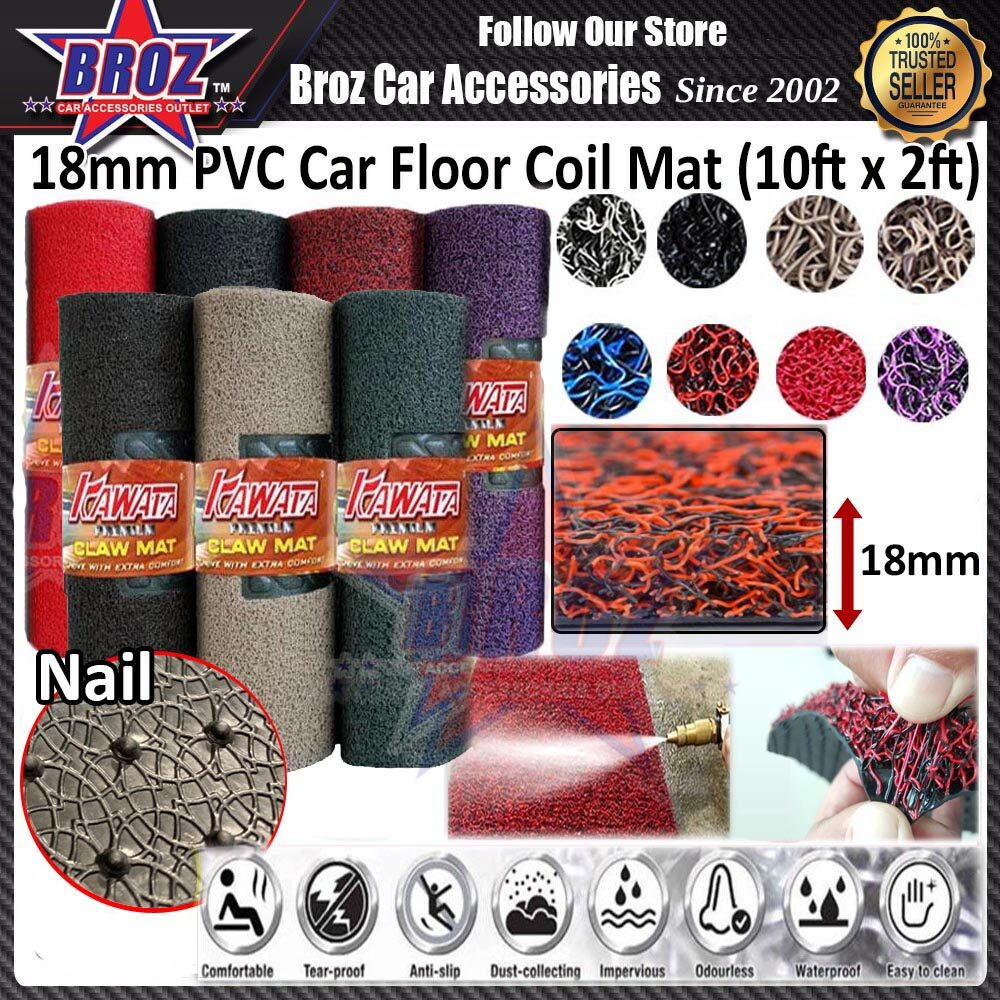 18MM One and Two Tone Colour DIY Universal Washable PVC Coil Floor Mat Anti Slip Carpet Nail Backing One Roll