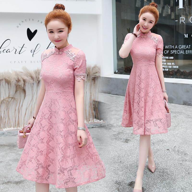 (Pre Order14 Days JYS Fashion Korean Style Women CNY Festive Red Cheongsam Collection-5263468col526-3468--Pink-M