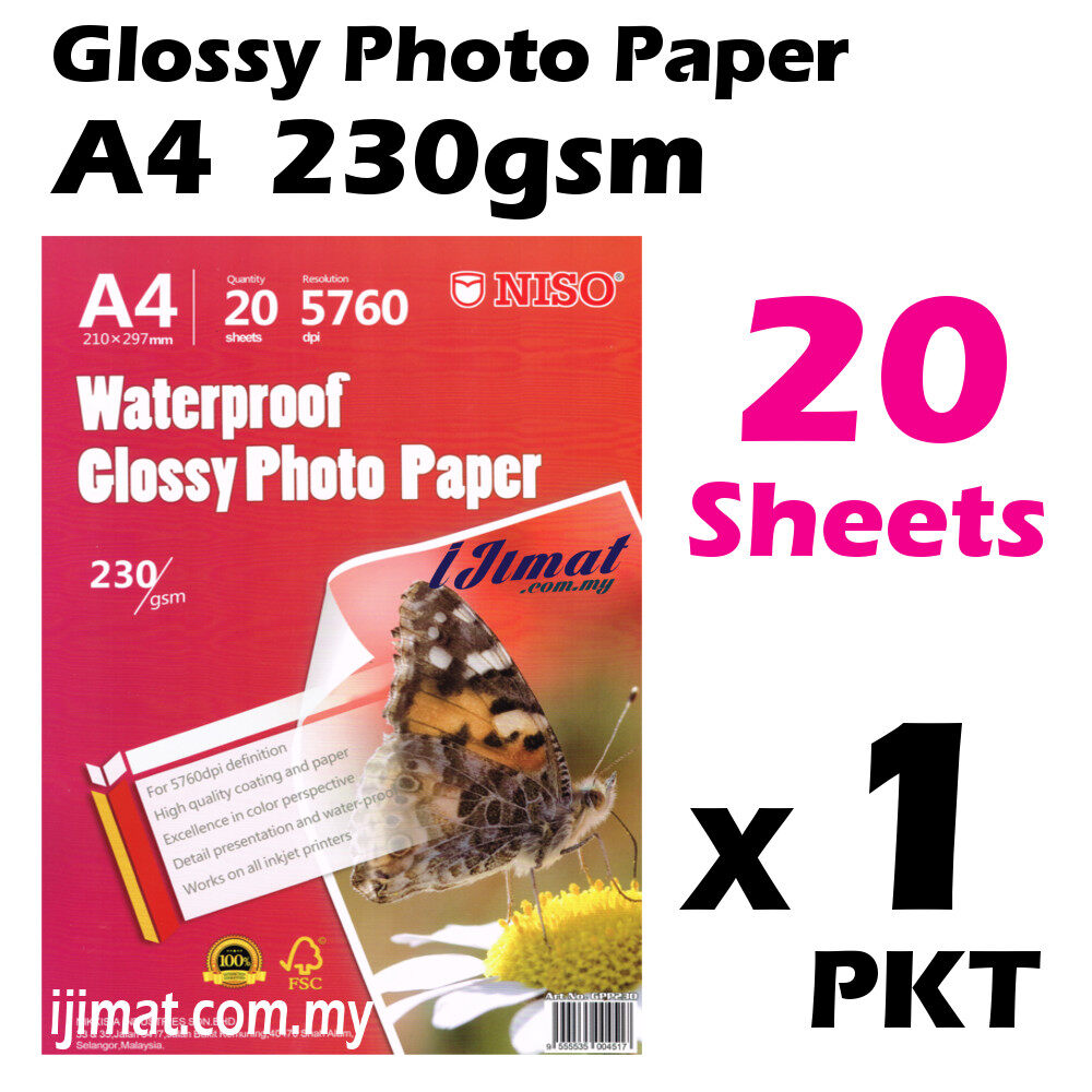 Glossy Photo Paper A4 Size 20 Sheets 230g / 20's Waterproof 230gsm (Each Pack 20 Sheets) I JIMAT