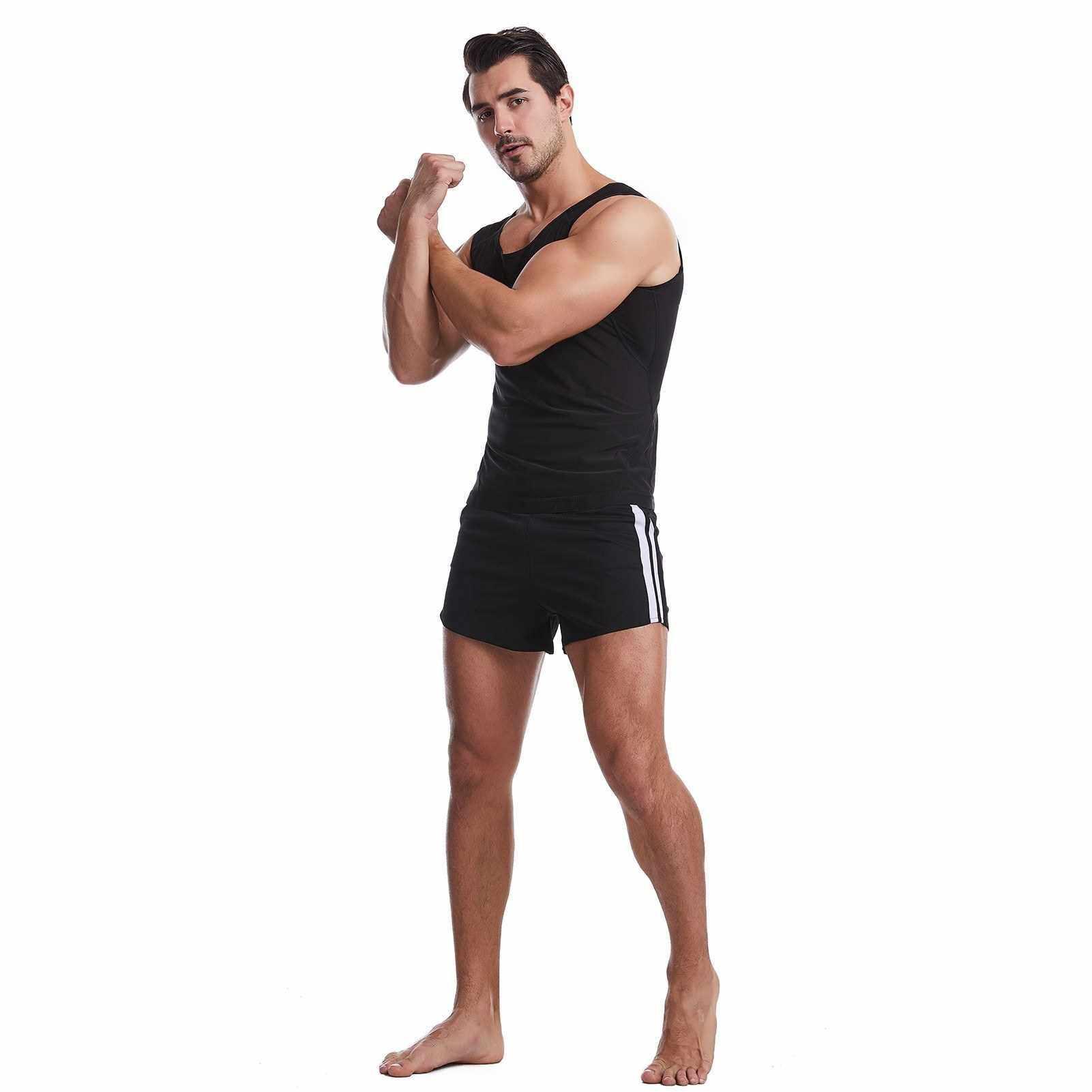 Men Sweat Sauna Shaper Vest Stretchable Bodycon Yoga Running Gym Compression Shapewear (Black)