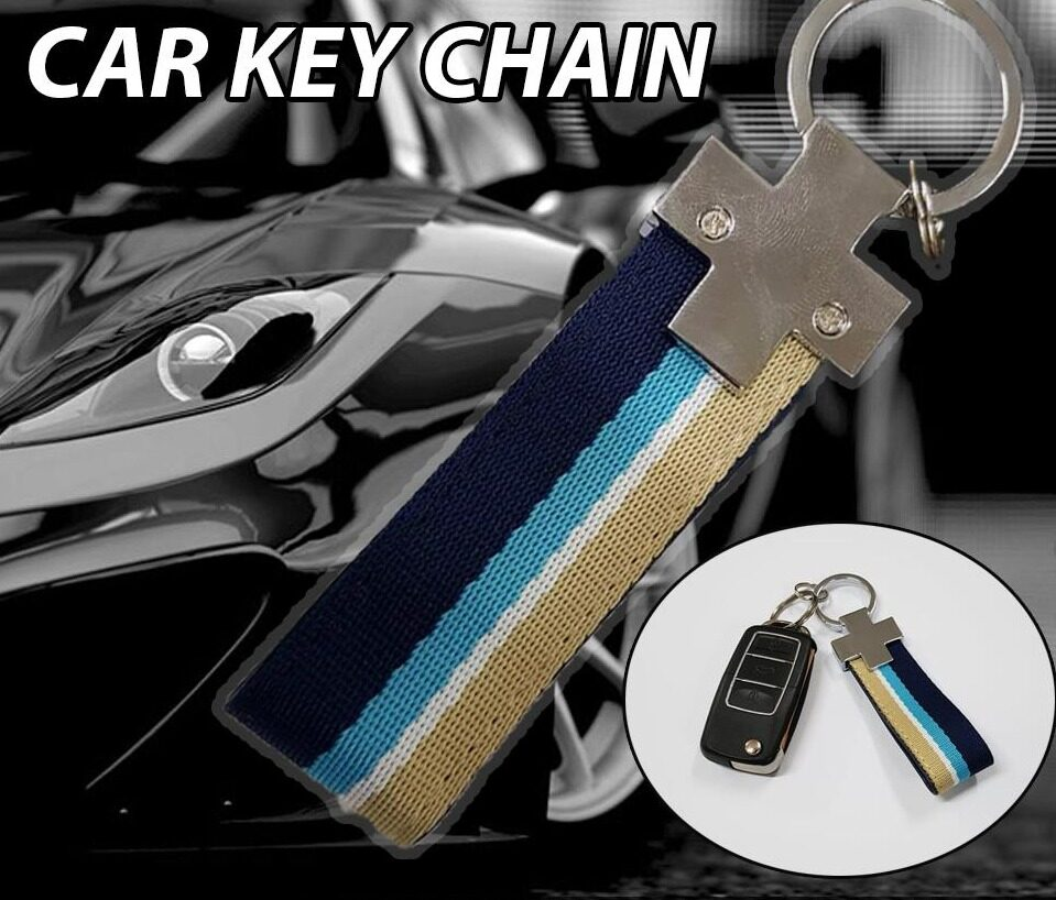 Broz Stainless Steel PVC Blue Brown Strap Key ring Key Chain Ring