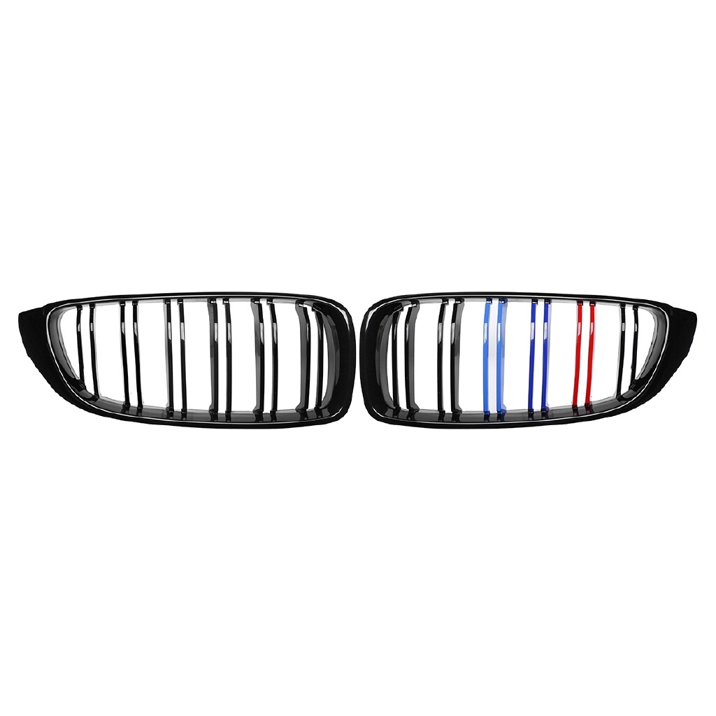Automotive Tools & Equipment - 2x Glossy Black&M-Color Front Kidney Grille For BMW F32 F33 F36 4-Series 2013-16 - Car Replacement Parts