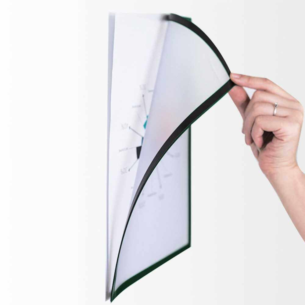 Magnetic File Frame Transparent PVC Document Display Frame for A4 Size Letter Paper Photo Picture Work Schedule (White)