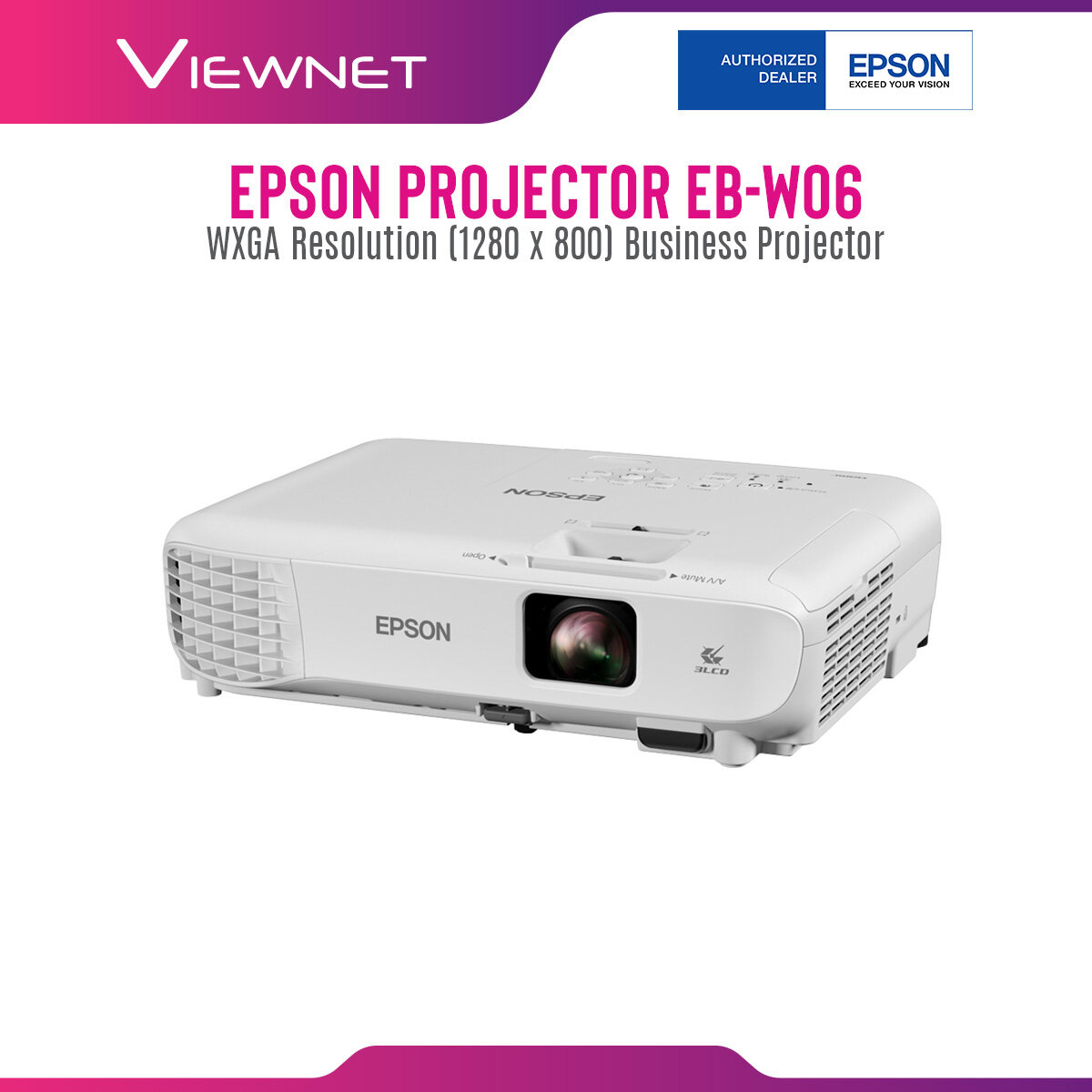Epson Projector EB-W06 with WXGA Resolution (1280 x 800), 3700 Lumens, 12000 Hours Lamp Life in Eco Mode