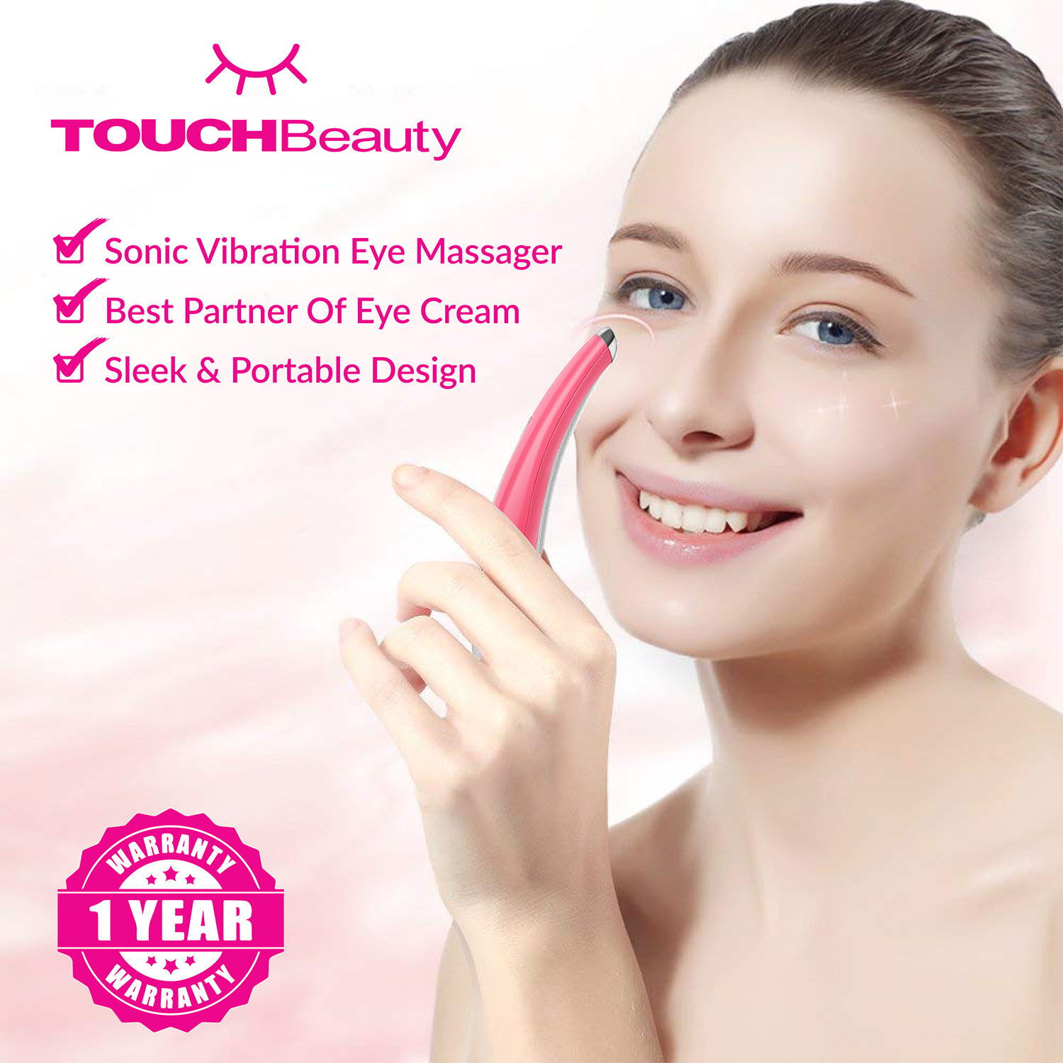 TOUCHBeauty Eye Massagers TB-1583 Anti-wrinkle Sonic Eye Device White/SONIC VIBRATION EYE MASSAGER/COMBINED 40? WARM TREATMENT WITH SONIC VIBRATION/The vibration helps to increase blood circulation