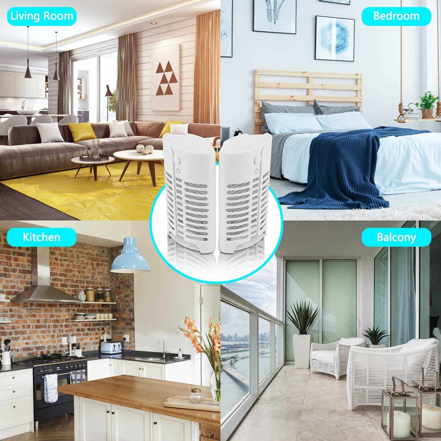 Best Selling 2PCS/Pack 220V Home Practical LED Socket Electric Mosquito Killer Lamp Mosquitoes Repellent Fly Bug Insect Trap Killer Zapper Night Lamp Lights (Type 2)