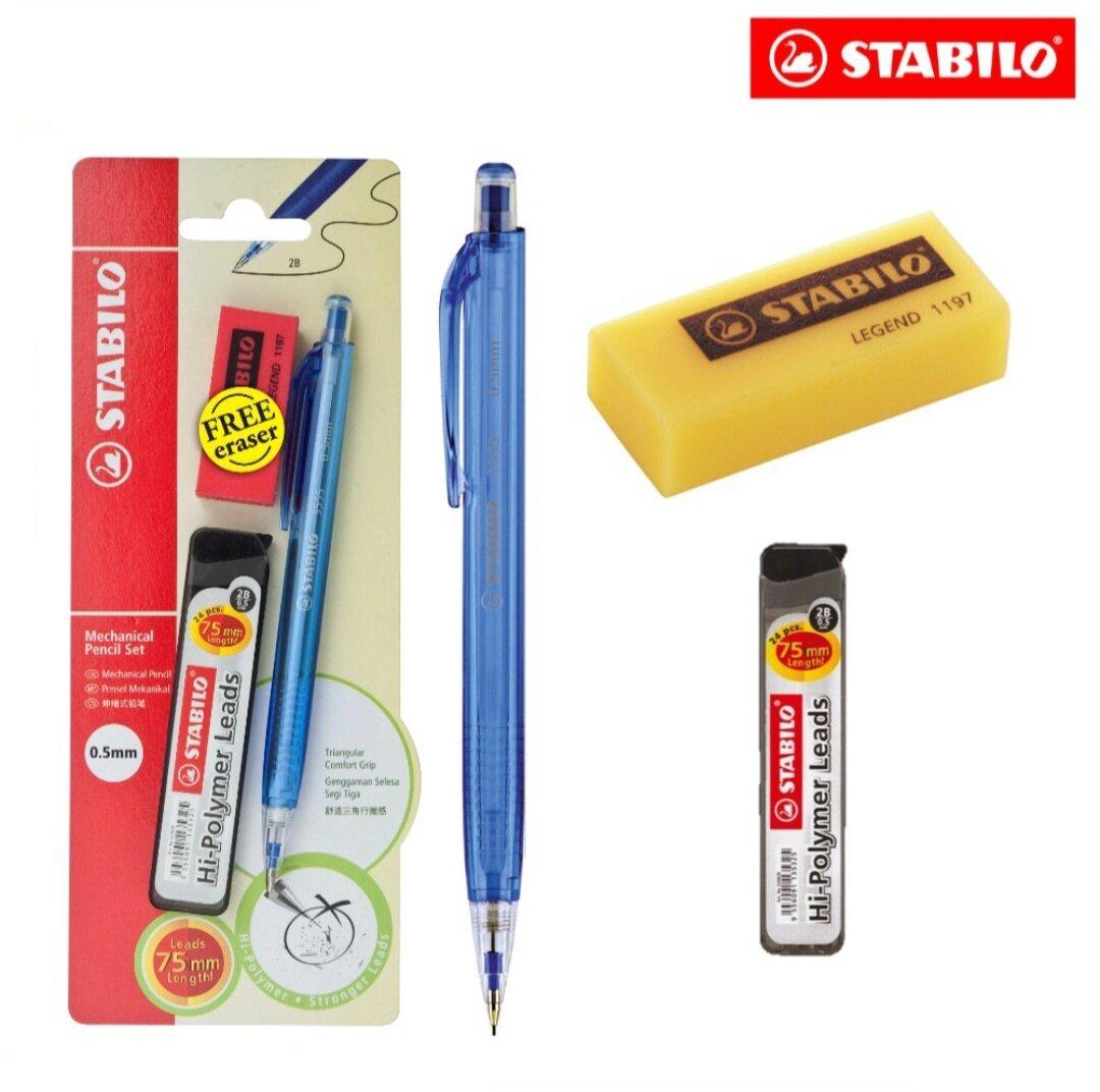**Special Pack** STABILO Mechanical Pencil Set + Hi Polymer Leads + Eraser