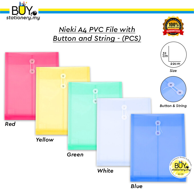 Nieki A4 PVC File with Button and String - (PCS)