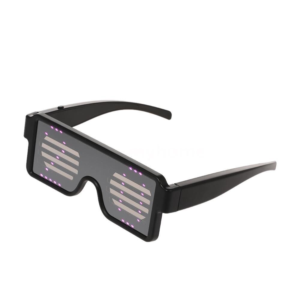 Lighting - LED Party Glasses Rechargeable Toy Glasses with Multiple Animation Modes Work for 8 Hours for - BLACK