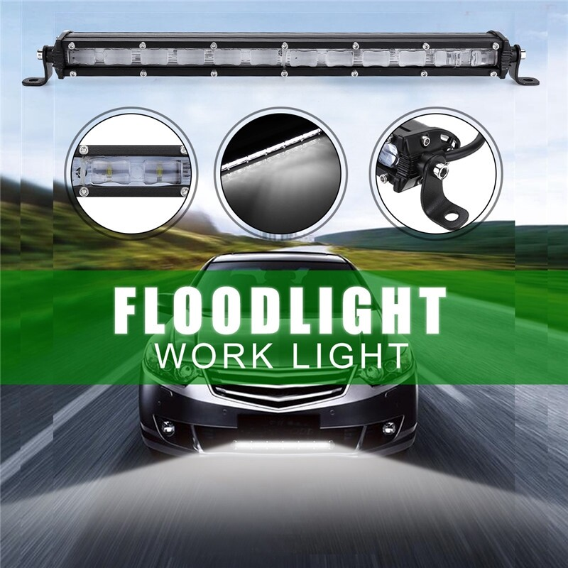 Car Lights - 13 Inch LED Flood Work Light Bar Driving Fog Lamp Offroad SUV ATV 36W 3600LM - Replacement Parts