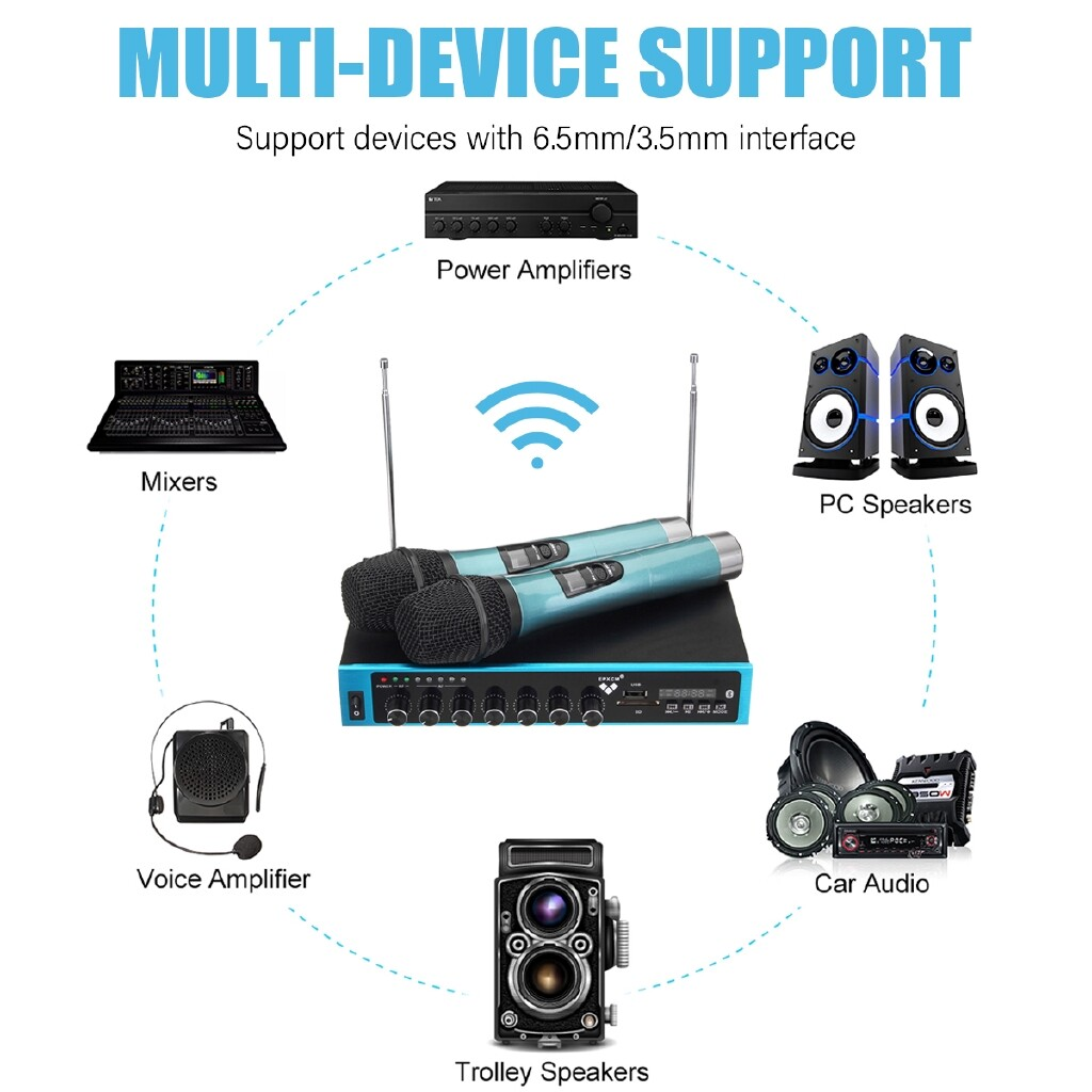 Home Theater Systems - UHF Dual HandHeld Microphone System/Digital Display Party DJ - Entertainment