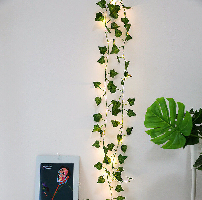 LED Artificial Plants String Light Green Maple Leaves Lamp Garland DIY Battery Powered Hanging Lighting