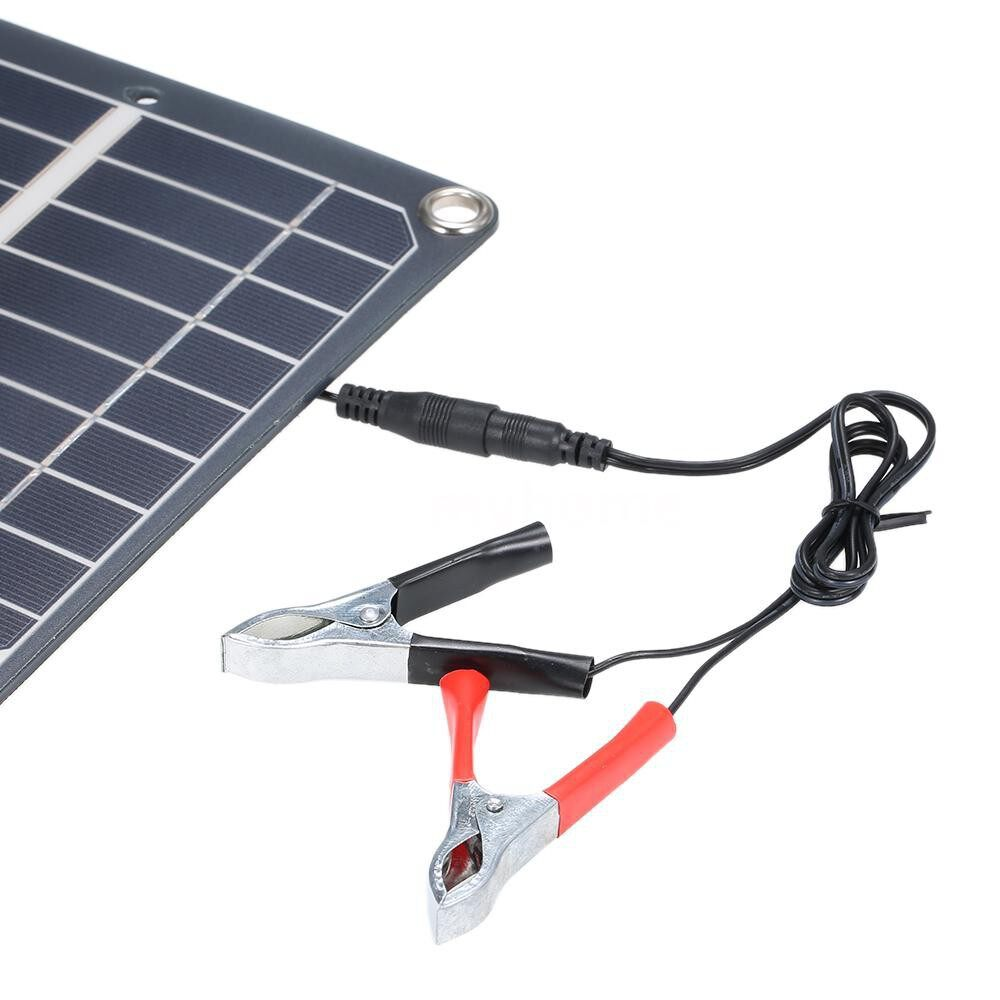 Lighting - DC5V/DC18V 10W Dual Output Solar Power Energy Charging Panel with USB Interface Car Charger IP65 - BLACK