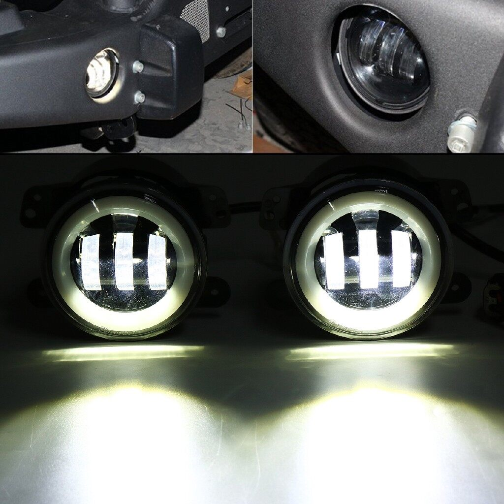 Car Lights - Pair 4 30W Round LED Fog Light Flood Lamps Hi/Low Beam DRL For Jeep Wrangler - Replacement Parts