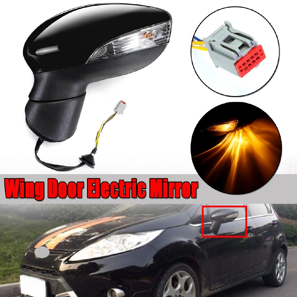 Automotive Tools & Equipment - For Ford Fiesta Mk7 2008-2012 Electric Wing Door Mirror LH Left Painted Black - Car Replacement Parts