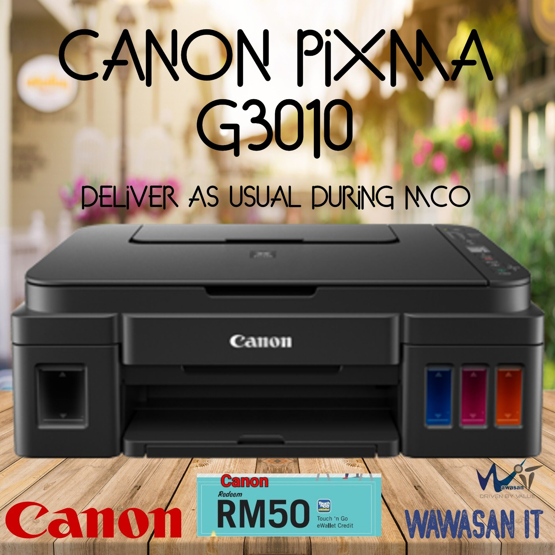 CANON PIXMA G3010 Refillable Ink Tank Wireless All-In-One for High Volume Printing, Similar model Canon G3010, Canon G4010 ,HP 415, Epson L3110, Epson L3150, Brother DCP T510w , Brother DCP T310, Brother DCP T710w, Brother DcP T910DW