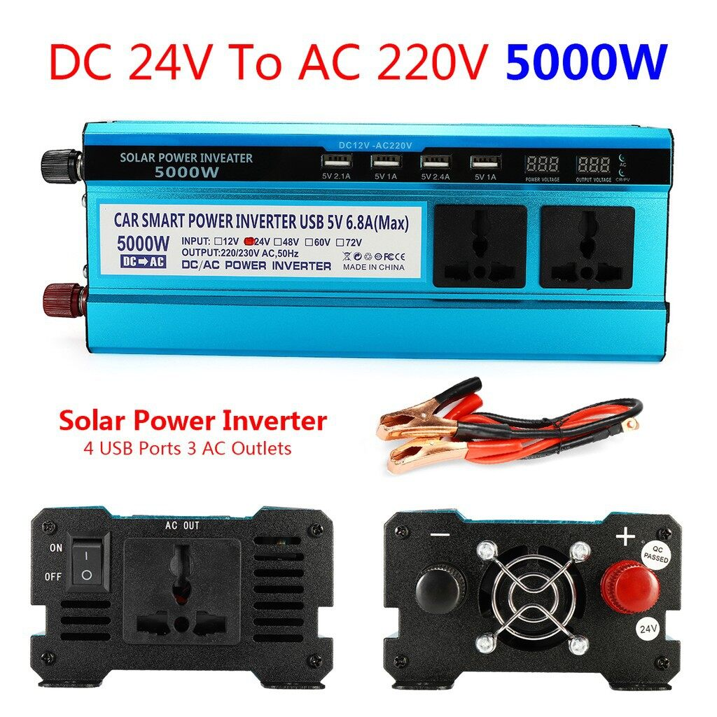 Motorcycles, Parts & Accessories - 5000W Solar Power Inverter DC 12V/24V to AC 220V LED Display Sine Wave Converter - 24~220V / 12~220V