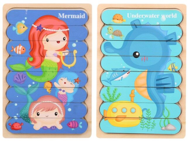 Combo Set Early Learning Dual Face Wooded Puzzle Kids Baby Children Child Early Learning Education Toys Gift早教卡通拼图