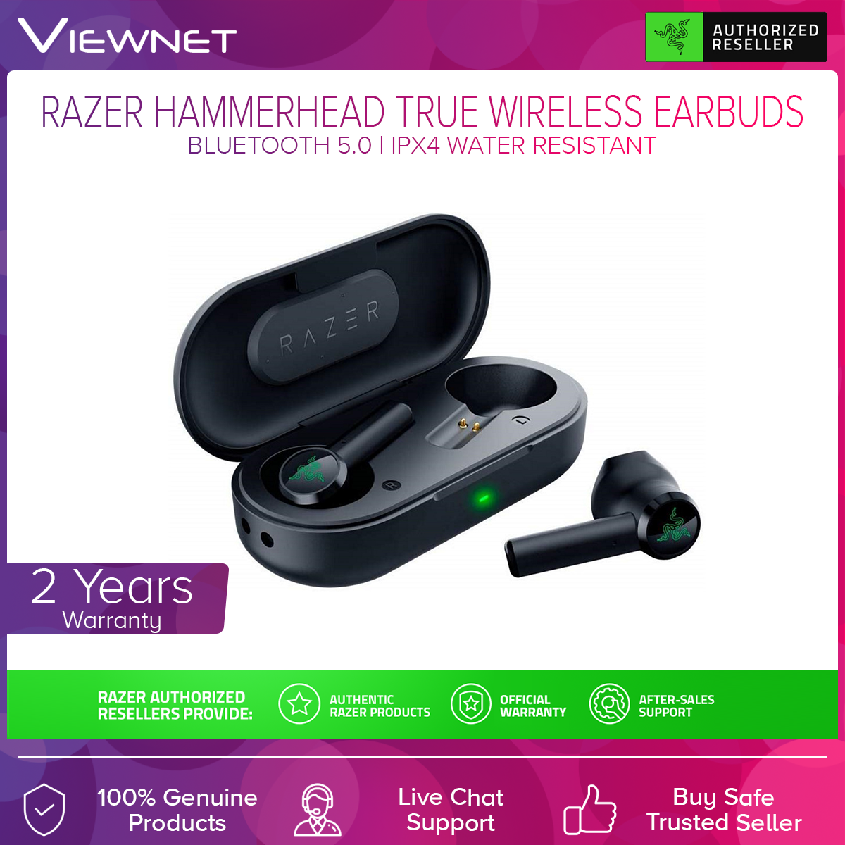 Razer Hammerhead True Wireless Earbuds (RZ12-02970100-R3A1), Ultra Low Tendency, Customer-Tuned 13MM Drivers, Bluetooth 5.0, Water Resistant Design, Portable Type C Charging Case, Sound Isolation Silicone Earbud Sleeves, Baterry life Earbuds 4 Hours