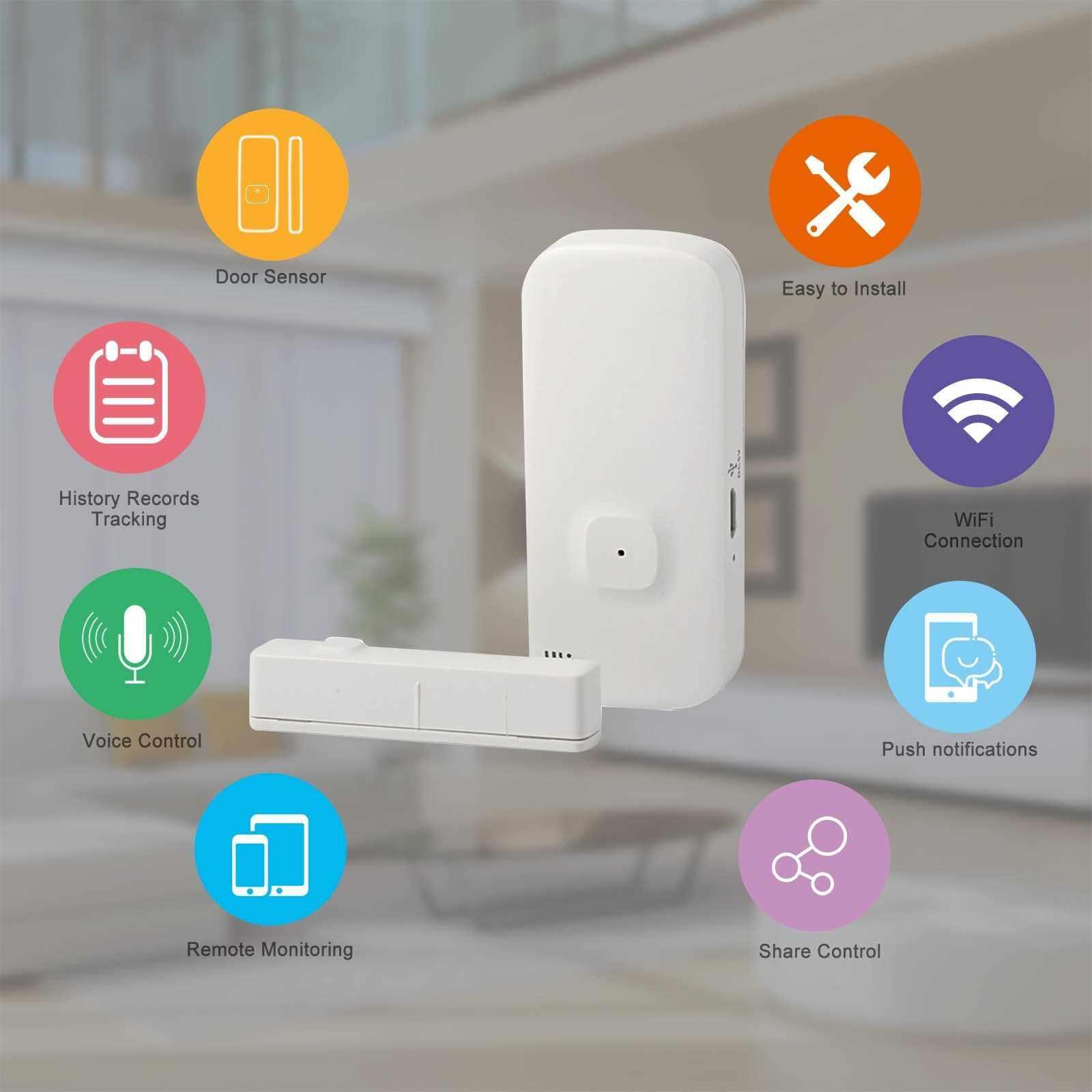 WIFI Door Sensor Tuya APP Control Door Window Opening Security Alarm Sensor Magnetic Switch Wireless Detector Compatible with Alexa Google Home IFTTT (Standard)