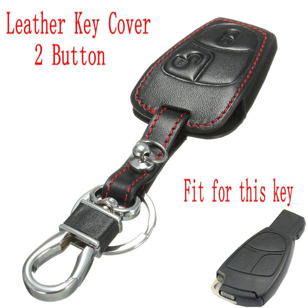 Car Accessories - 2 Buttons PU Leather Remote Key Case Cover FOB For Mercedes BENZ C S CLK SLK - Automotive