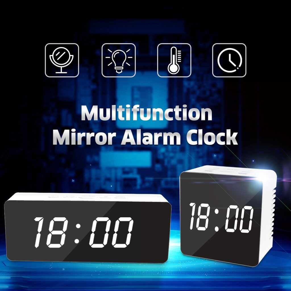 Table Lamps - Mirror LED Digital Snooze Alarm Clock Temperature Night Mode Lights_3C - SQUARE / RECTANGLE