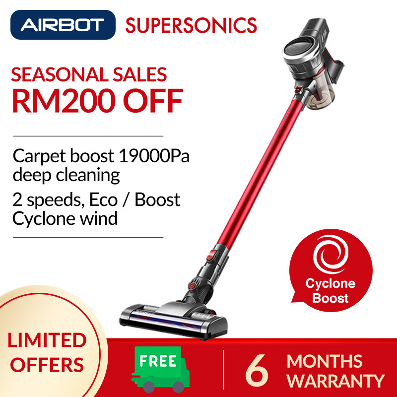 Airbot Supersonics (Red) 19KPa 45mins Turbo Cordless Vacuum Handheld Handstick 2-IN-1 Mode Portable Car Vacuum Cleaner Bed Mite Killer Work With Robot Robotic Vacuum