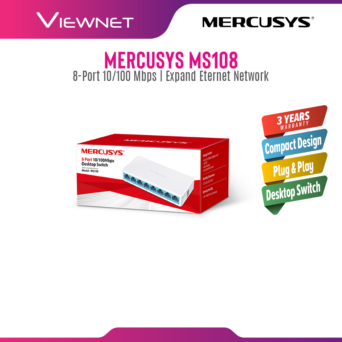 Mercusys 8-Port 10/100Mbps Desktop Network Ethernet LAN Switch MS108 (Powered by TP-Link) TP Link