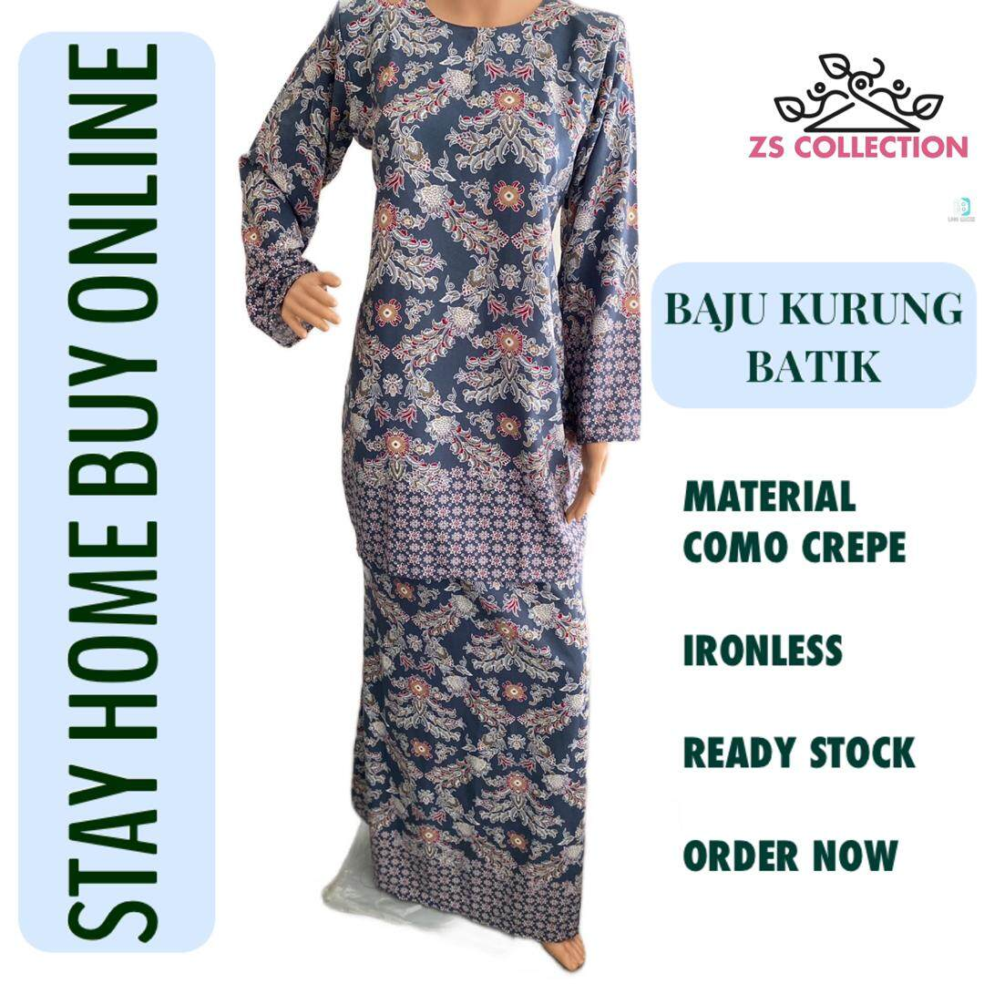 New Collection Kurung Moden Batik Raya 202 Floral Print (como crepe) 2020