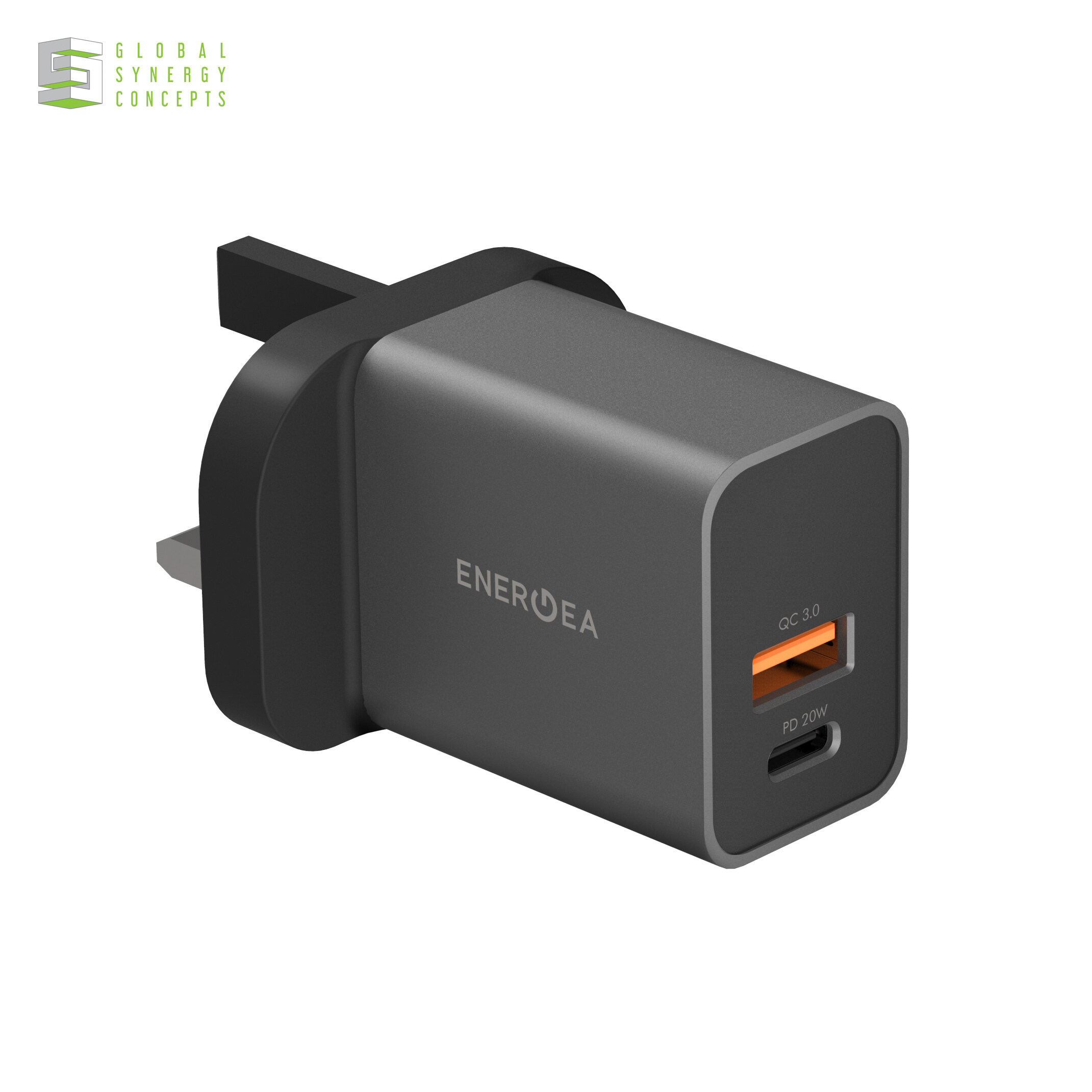 Energea AmpCharge PD20+ PD USB-C + QC USB-A PORT WALL CHARGER, 20W (UK)
