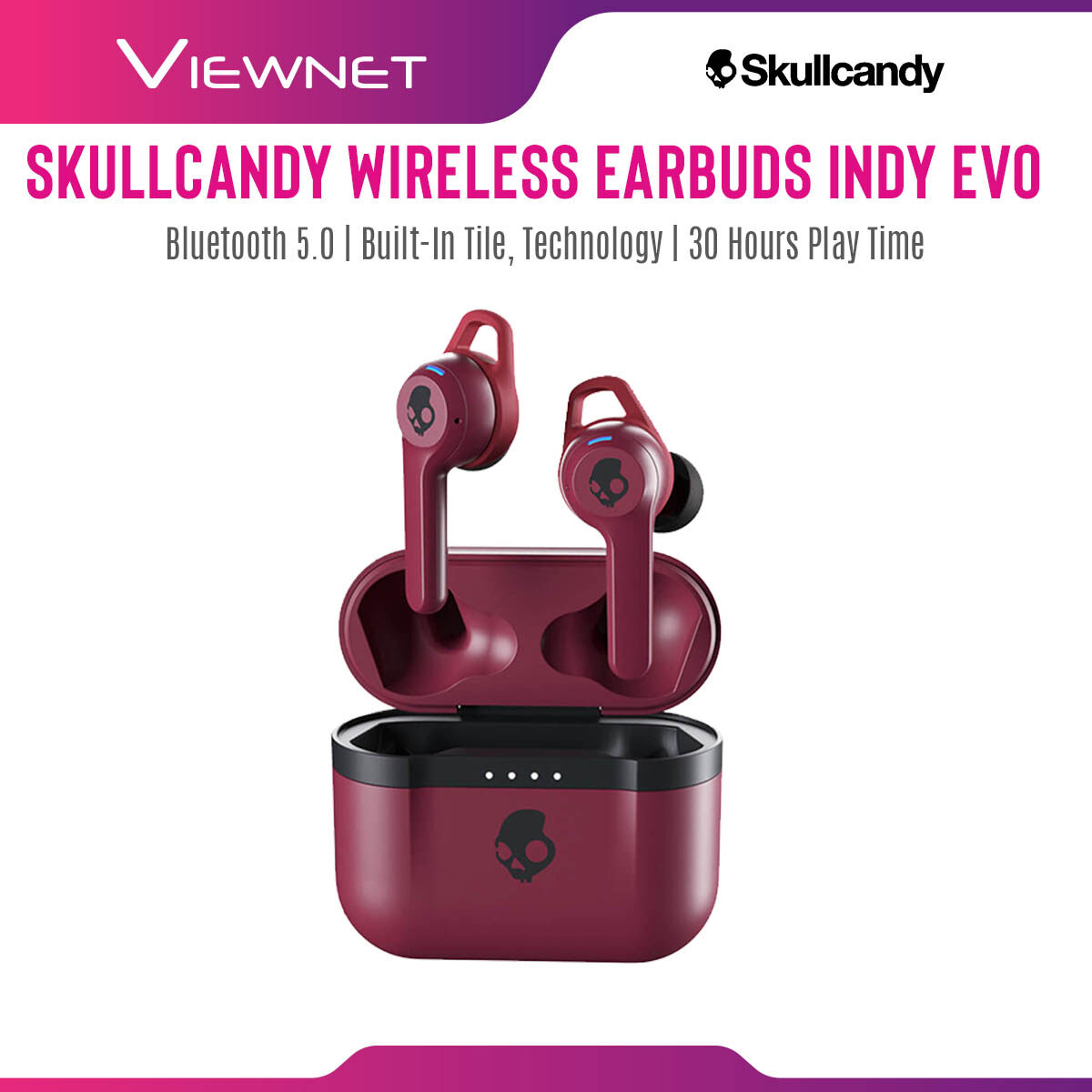 "Skullcandy Wireless Earbuds Indy Evo with Bluetooth 5.0, Built-in Tileâ""¢ Technology, 30 Hour Play Time, IP55 Sweat Resistant, Water Resistant And Dust Resistant, 3 EQ Modes (Music, Movie, Podcast)"